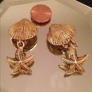 Nautical 1995 BG Designer signed Clip-on earrings